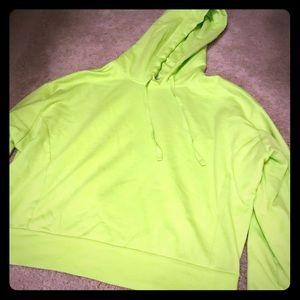 Express neon green hooded sweatshirt